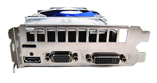 Rather than offer the usual twin DVI ports, Galaxy has decided instead to substitute one of them for a traditional VGA one. Also, they have included a proper HDMI port as opposed to a mini-HDMI one that is seen on so many Fermi cards.