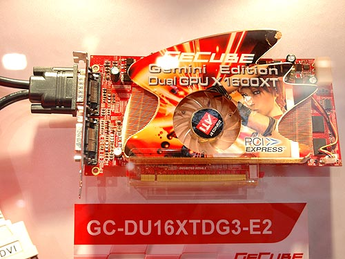 GECUBE launched the world's first dual VPU graphics card at CeBIT with the new GC-DU16XTDG3-E2. This rather small card comes with two Radeon X1600XT VPUs and is configured in CrossFire mode. You need not use a CrossFire capable motherboard since it only requires a single PCIe x16 graphics interface. With CrossFire enabled, gamers can enjoy better framerates and with CrossFire disabled, you can hook the card to four displays - giving you a wider view of your virtual desktop.