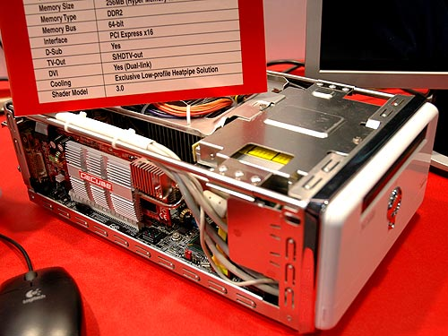 Silent cooling technology is also in GECUBE's agenda as they have discovered users getting increasingly frustrated with noisy fans. Here, they demonstrated their X1300LE graphics card with a fan-less cooler installed in AOpen's tiny small form factor PC. The half-height card is a perfect fit here.