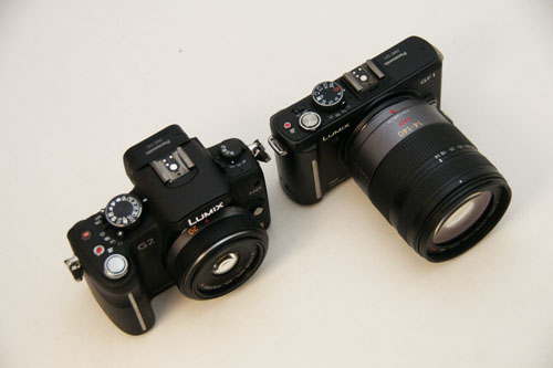 Size is relative to the lens. In this case, the G2 with the 20mm pancake (left) isn't that much bigger than the GF1 with the 14-140mm (right).