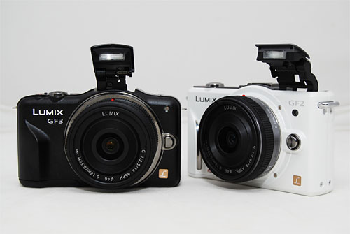Unlike the GF1 and GF2 which had side-mounted flash, the GF3 has a center-mounted flash.