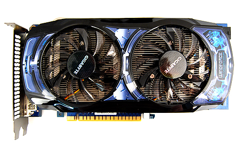 The Gigabyte GeForce GTS 450 OC comes with the recognizable Windforce cooler.