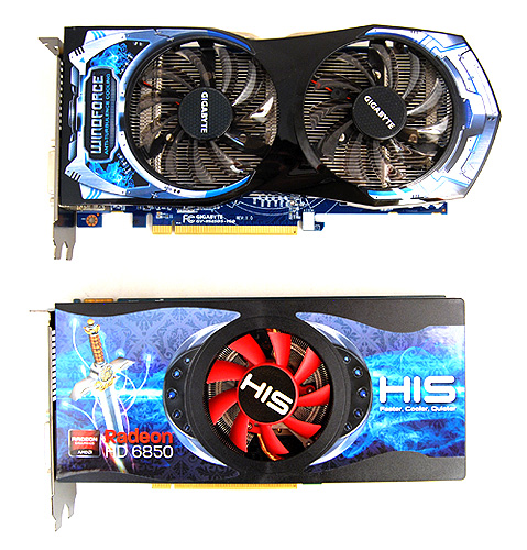The Gigabyte HD 6850 sports the recognizable dual-fan Windforce 2x cooler.