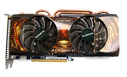The Gigabyte card uses the familiar Windforce 2x cooler that we've seen on their other cards.