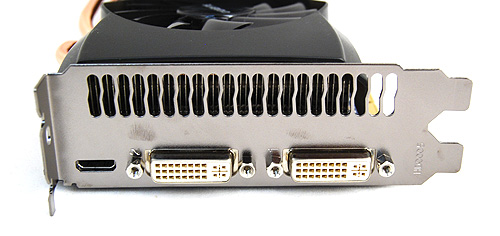Video output options on the Gigabyte GTX 465 are identical to the reference card, which means two DVI ports and a single mini-HDMI port.