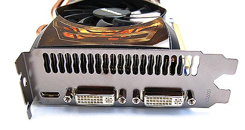 The card has the usual twin DVI ports and single mini-HDMI port found on reference GeForce GTX 560 Ti cards.
