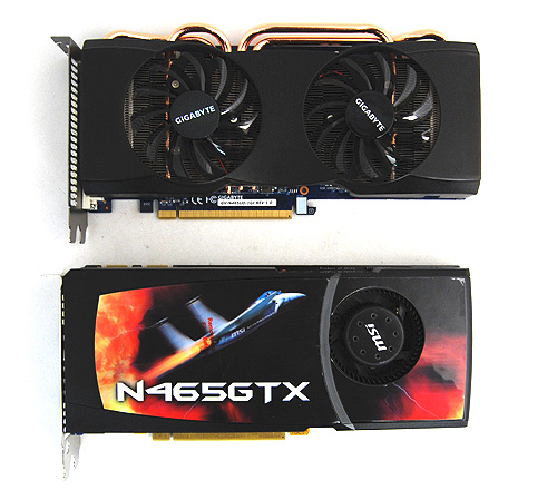 The Gigabyte GTX 465 looks remarkably different from our reference card, thanks to its customized cooler.