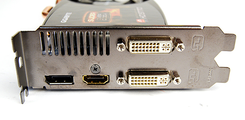 Similar to a reference card, the Gigabyte HD 5770 Super Overclock has two DVI ports, a single HDMI port and a lone DisplayPort.