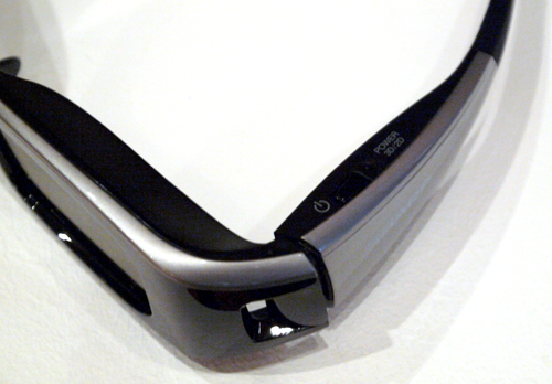 Sharp's 3D eyewear is a little bulky, but it harbors a nifty feature which does 3D to 2D conversion at the press of a button. You'll find it a littler farther down the power switch.