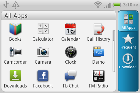 To make better use of the available screen, the menu bar is relocated from the bottom to the right side of the screen.