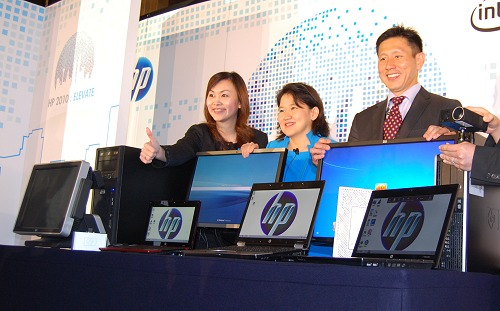 From the right - Posing here to unveil some of the newest SMB class products are Ng Tian Chong, Vice President (SEA, TW and Korea) of Personal Systems Group, HP and Megawaty Khie, Managing Director of Personal Systems Group HP Indonesia.