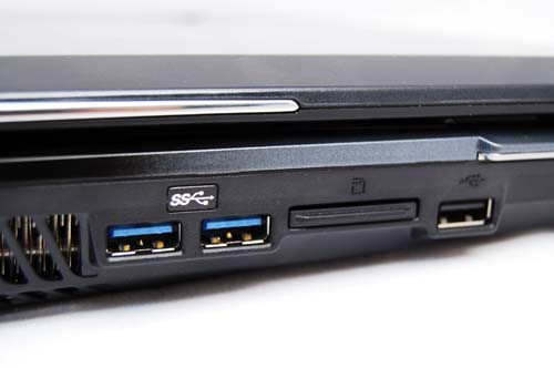 If it's speed you want, then these USB 3.0 ports should do the trick. Also seen here on the side is the memory-card reader and an additional USB 2.0 port.