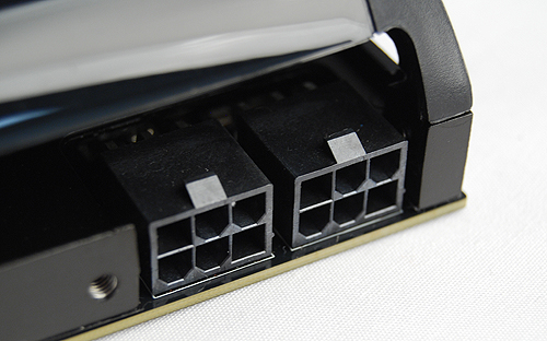 Power is fed through two 6-pin PCIe power connectors and the rated TDP of the GeForce GTX 560 Ti is 170W, 10W greater than the GTX 460. NVIDIA recommends a PSU rated for at least 500W to run the card safely.