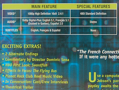 The audio/video support specs for the Swordfish HD DVD movie.