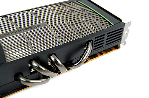 The four thick heat pipes are a necessity seeing that the card has a rated TDP of 250W. In comparison, a Radeon HD 5870's rated TDP is only 188W. One can also see the two SLI connectors - the GeForce GTX 480 is 3-way SLI compatible.