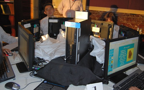 There was an actual demonstration of the HP Multiseat Computing solution at the event and seen here in the center is the host PC while the other users benefit from the system's processing capabilities with the Multiseat device. Since today's systems are pretty powerful, this form of sharing compute resources is a possibility.