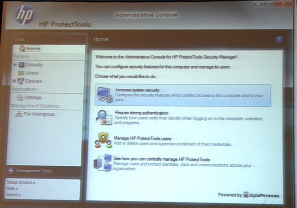 The main HP ProtectTools software manager.