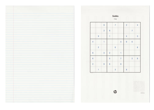 Fancy a game of Sudoku? The C309 has pre-programmed templates like sudoku puzzles, lined paper and music sheets for print.