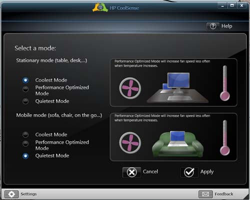 Some of the settings available for HP CoolSense technology.