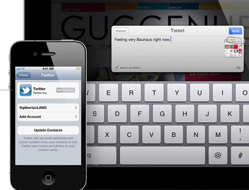 Twitter integration has become a common feature amongst most smartphone platforms, and Apple will join the party with the iOS 5 update.