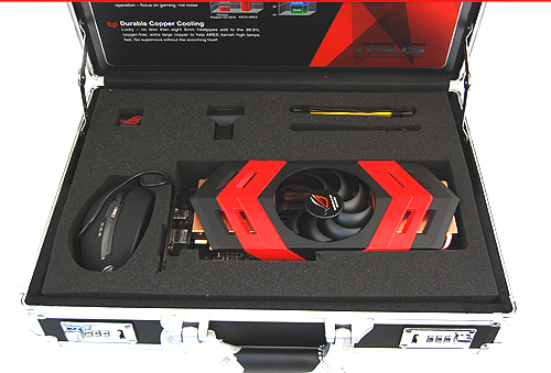 Inside, you'll find the card along with basic accessories such as a HDMI to DVI adapter, PCIe connectors, and a ASUS ROG gaming mouse.