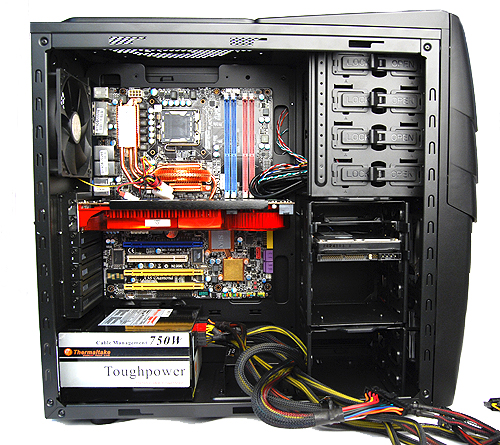 The casing is large enough to comfortably accomodate a large Radeon HD 3870 X2 graphics card and a 750W PSU.