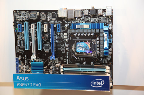 The ASUS P8P67D EVO full ATX motherboard.