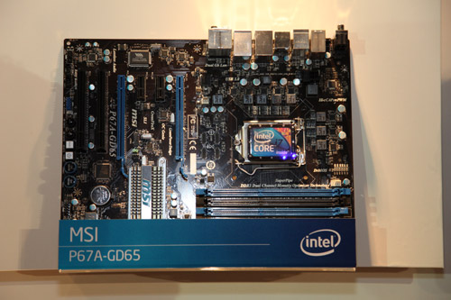 The MSI P67A-GD65 comes with two PCI Express graphics slot for dual card configurations.