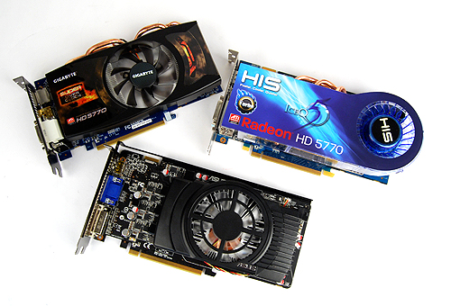 Clockwise from top left: Gigabyte HD 5770 Super Overclock, HIS HD 5770 IceQ 5 Turbo and ASUS EAH5770 CuCore.