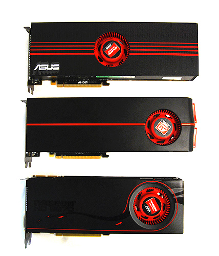 The Radeon HD 6990 on top, followed by the Radeon HD 5970 and HD 6970.