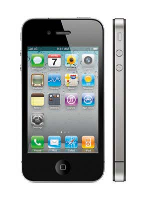 The iPhone 4, sleek and pretty. Glass on the front and back, while surrounded in stainless steel at the sides.