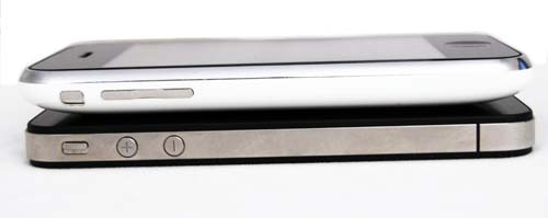 The iPhone 3GS also looks like it's slightly wider at the edges, compared to the iPhone 4.