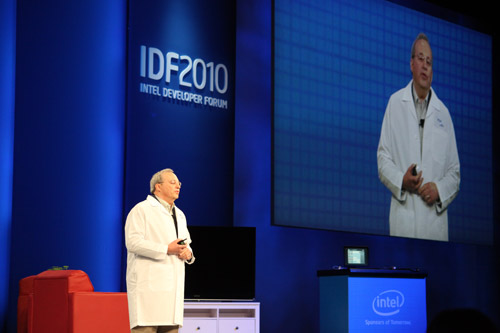 Intel CTO and Senior Fellow Justin Rattner at the closing keynote at IDF Fall 2010.