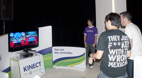 Duke it out on Kinect Sports, but bear in mind it can only work with two players at time, so no double teaming for folks used to the four-player mode in Wii Sports.