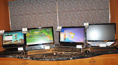 Also on display were these AIOs (from left to right): the Lenovo C200 (available June 2010), the Lenovo IdeaCentre A700 (available July 2010), the Lenovo IdeaCentre B300 (available July 2010) and the Lenovo IdeaCentre B500 (currently available).