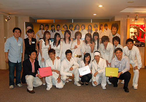 The participants (and future stars) of Channel U's Project Superstar posing with representatives of Sony after receiving a Sony VAIO C each.