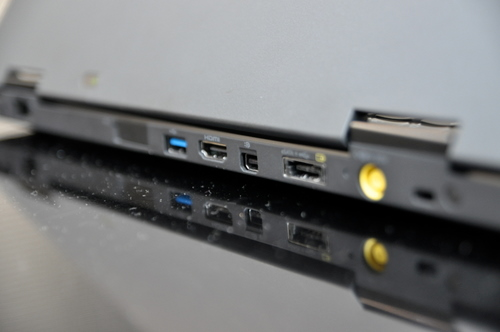 The placement of the ports ensures that wires will be out of your way while you work.