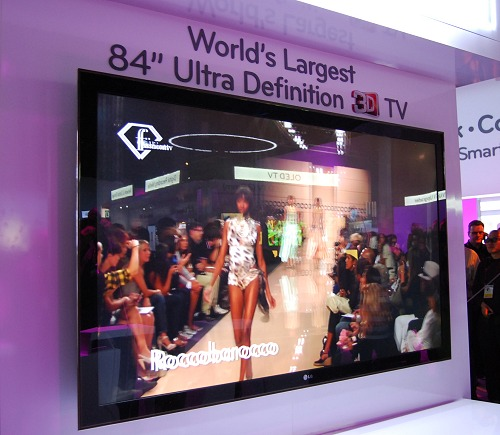 The picture says it all - a super huge ultra high definition TV. It's of course just a concept TV as the market and content simply don't exist yet as we barely even embraced 3D in proper. Perhaps UHD TVs may be common place in 5 years time. As for this reference TV, it doesn't support active 3D glasses technology, but instead, passive 3D glasses which have a wider viewing angle.