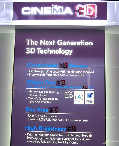 LG also introduced this new feature set. While it sounds impressive, they are mostly catered to support passive 3D glasses technology, which is new to LG's 3D TV line-up. This is found in the upper mid-tier LW6500 and LW5600 TV series to provide an inexpensive 3D viewing experience and especially for group TV watching where only an inexpensive and flexible polarized glasses are needed.
