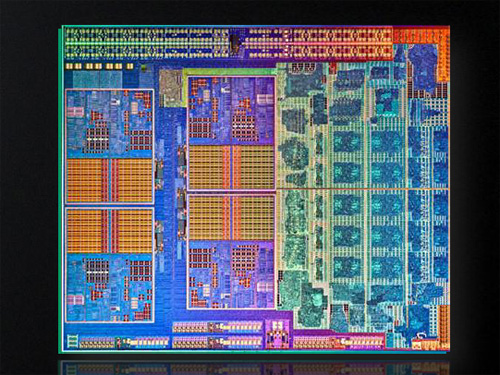 The new Llano chip which is based on their new 32nm process technology. There are a total of 1.45 billion transistors on this 228 square mm silicon die.