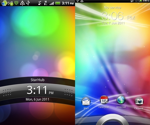 The lock screen icon takes on a new look in HTC Sense 3.0 (right) versus the what's commonly seen on their Android smartphones (left).