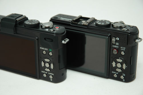 The LX5 sits on the left, while the LX3 is on the right.