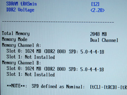 Two pieces of 1GB DDR2-1066 memory is installed in the system for dual channel operation. However, to keep the configuration mainstream, the memory was set to DDR2-800 at 4-4-4-12 timings.