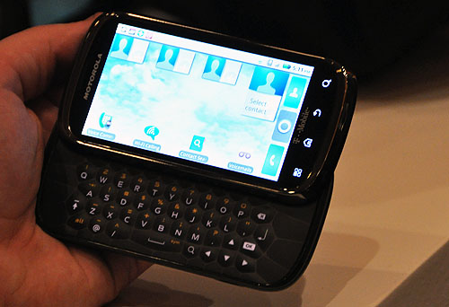 The slide-out keyboard of the Cliq 2 makes for easier typing than if you were to use a touch screen keyboard.
