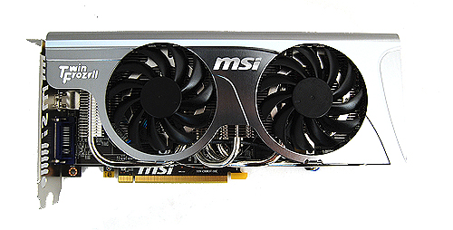 The MSI card uses the distinctive Twin Frozr II cooler, which comes in its standard silver/chrome finishing.