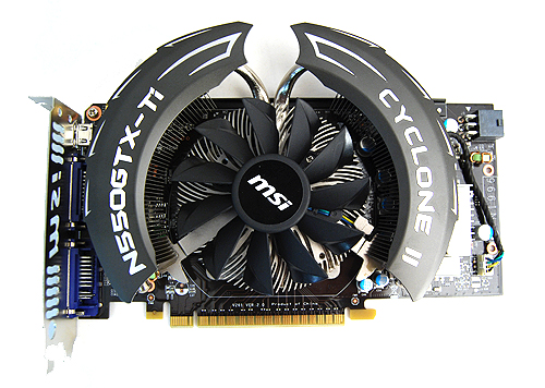 The MSI N550GTX-Ti Cyclone II OC uses an improved design of the original Cyclone cooler that was used on MSI's mainstream graphics cards.