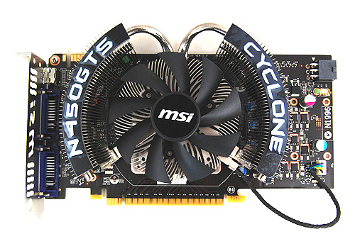 The distinctive Cyclone cooler makes a return in MSI's N450GTS Cyclone card.