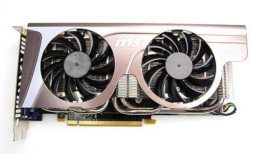 Like the Gigabyte card, the MSI N560GTX-Ti Twin Frozr II OC looks familiar because of the Twin Frozr II cooler which is widely used on MSI's custom designed cards.