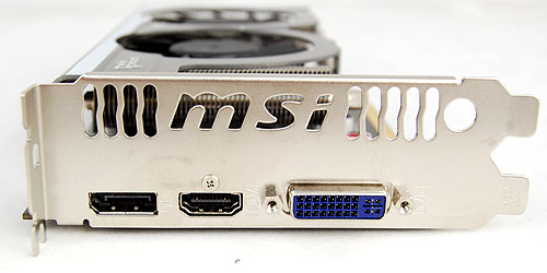 The MSI R5770 Hawk sports a DisplayPort as well as DVI and HDMI ports.