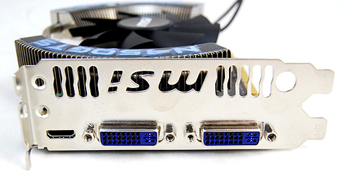 The MSI card sports the usual twin DVI ports and single mini-HDMI port, so nothing interesting to report here.